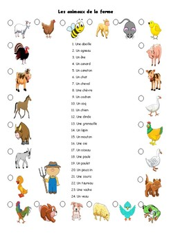 Animaux de la ferme, matching vocabulary activity in French