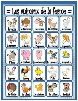 Animaux de la ferme, vocabulaire en image, French farm animals vocabulary