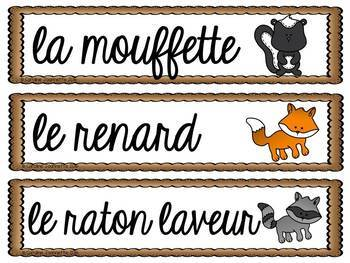 FRENCH Forest Animals Word Wall Cards /Animaux de la forêt - Mots-étiquettes