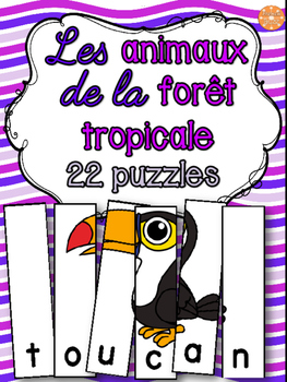 Animaux de la forêt tropicale - 22 puzzles - French animals
