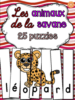 Animaux de la savane - 25 puzzles - French animals