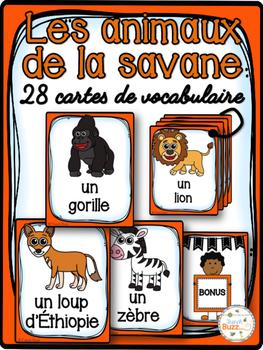 Animaux de la savane - Cartes de vocabulaire - French Safa
