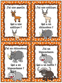 Animaux de la savane - Jeu j'ai qui a - French Safari Animals