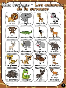 Animaux de la savane - mur de mots et lexique (28 mots) - French animals