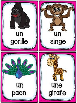 Animaux du zoo - Cartes de vocabulaire - French Zoo Animals