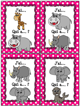 Animaux du zoo - Jeu j'ai qui a - French Zoo Animals