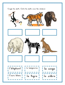 Animaux du zoo (Zoo Animals in French) Worksheets