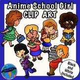 Anime School Girl Pack (6 School Girls Clip Art)