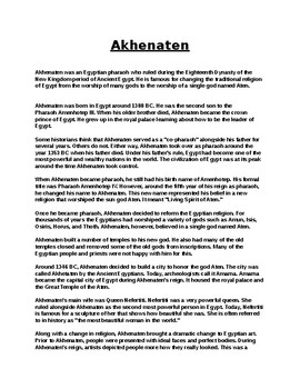 Ankhenaten Article Biography and Assignment