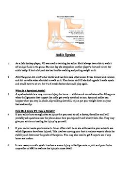 Ankle Sprains - Informational Text Test Prep