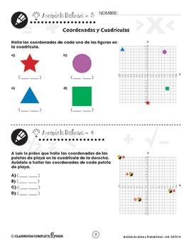 Análisis de datos y Probabilidad: Coordenadas y Cuadrículas Gr. 6-8
