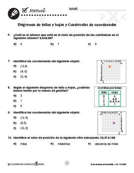 Análisis de datos: Diagramas de tallos y hojas y Coordenadas Gr. 3-5