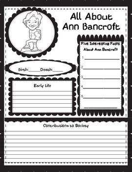 Women's History Month Graphic Organizers  Ann Bancroft
