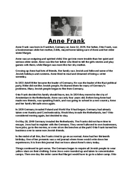 Ann Frank Biography Article and Assignment Worksheet