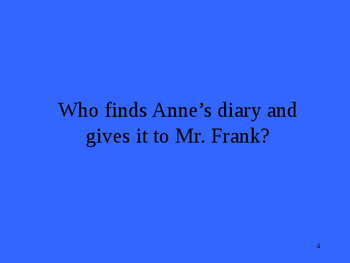 Anne Frank Play Act I & II Jeopardy