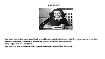 Ann Frank Webquest and Project