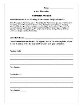 Anna Karenina Character Analysis Activity - Leo Tolstoy