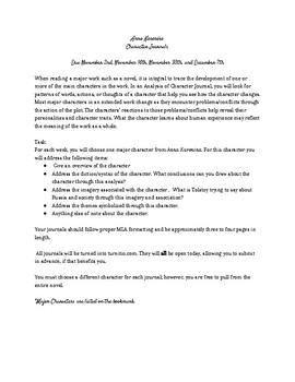 Anna Karenina Character Journals.