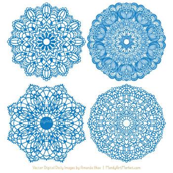 Anna Lace Blue Doily Vectors - Doily Clipart Images, Digital Doilies