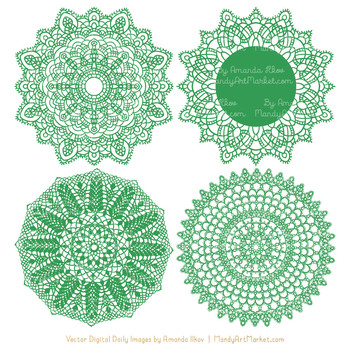 Anna Lace Green Doily Vectors - Doily Clipart Images, Digital Doilies