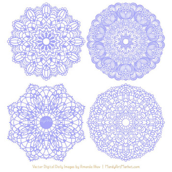 Anna Lace Periwinkle Doily Vectors - Doily Clipart Images, Digital Doilies