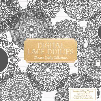 Anna Lace Pewter Doily Vectors - Doily Clipart Images, Digital Doilies