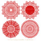 Anna Lace Red Doily Vectors - Doily Clipart Images, Digital Doilies