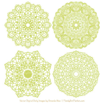 Anna Lace Round Doilies in Bamboo