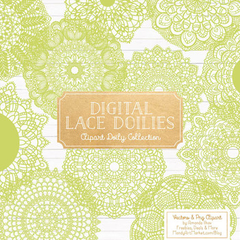 Anna Lace Bamboo Doily Vectors - Doily Clipart Images, Digital Doilies