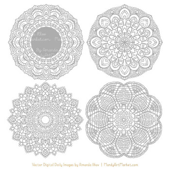 Anna Lace Round Doilies in Grey