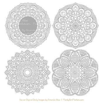 Anna Lace Grey Doily Vectors - Doily Clipart Images, Digital Doilies