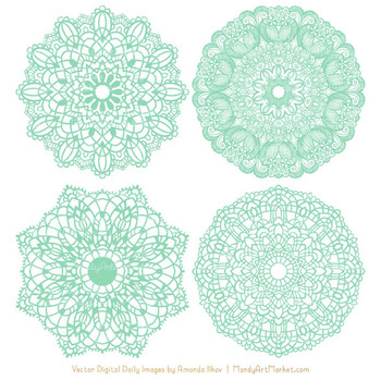 Anna Lace Round Doilies in Mint