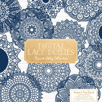 Anna Lace Navy Doily Vectors - Doily Clipart Images, Digital Doilies