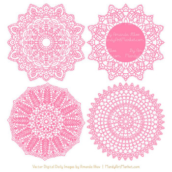 Anna Lace Round Doilies in Pink