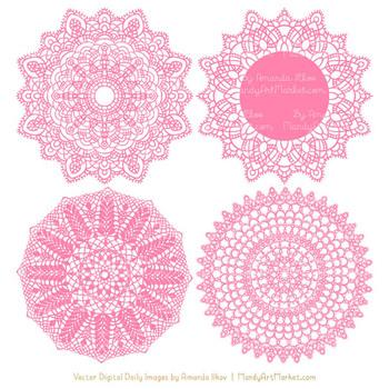 Anna Lace Pink Doily Vectors - Doily Clipart Images, Digital Doilies