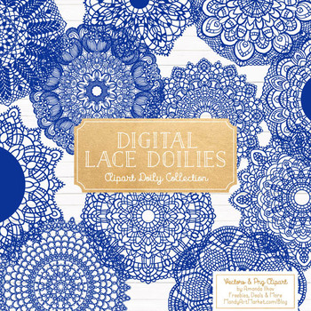 Anna Lace Round Doilies in Royal Blue