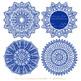 Anna Lace Royal Blue Doily Vectors - Doily Clipart Images, Digital Doilies