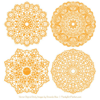 Anna Lace Round Doilies in Sunshine