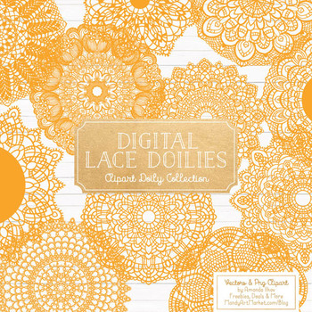 Anna Lace Sunshine Doily Vectors - Doily Clipart Images, Digital Doilies