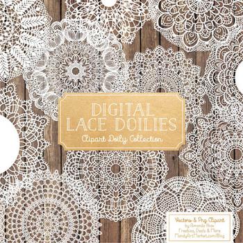 Anna Lace White Doily Vectors - Doily Clipart Images, Digital Doilies