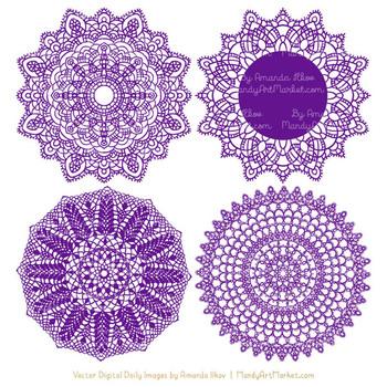 Anna Lace Violet Doily Vectors - Doily Clipart Images, Digital Doilies