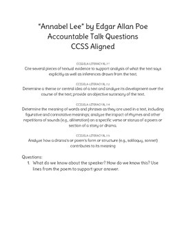 """""""Annabel Lee"""" Accountable Talk Questions"""