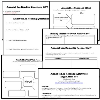 annabel lee activity bundle e a poe pdf by msdickson tpt. Black Bedroom Furniture Sets. Home Design Ideas