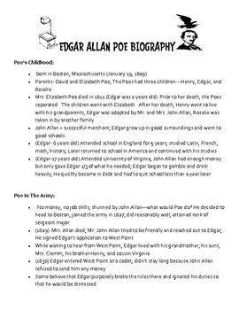 Annabel Lee- Edgar Allan Poe Teaching Packet