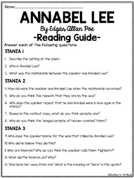Annabel Lee, Edgar Allan Poe reading guide, comprehension questions, poetry