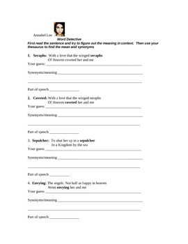 Annabel Lee Lesson and Activity Packet