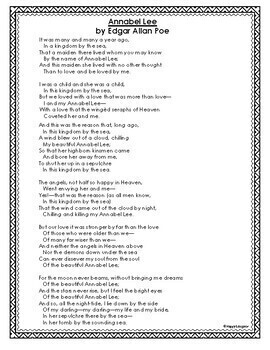 Annabel Lee by Edgar Allan Poe Vocabulary Graphic Organizer