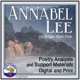 Annabel Lee by Edgar Allan Poe Poetry Analysis with Vocabulary Graphic Organizer