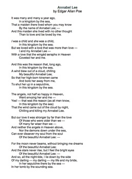 Annabel Lee by Edgar Allan Poe - Lessons, Analysis, & Writing Activity