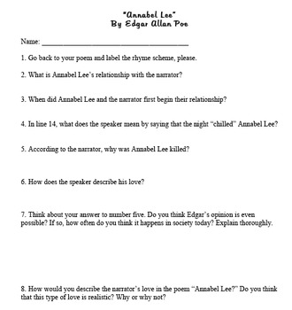 Annabel Lee (by Edgar Allan Poe) Questions + Answer Key
